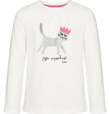 Endo - Bluzka z długim rękawem dla dziewczynki, jego wysokość kot, złamana biel, 3-8 lat D92G019_1,1