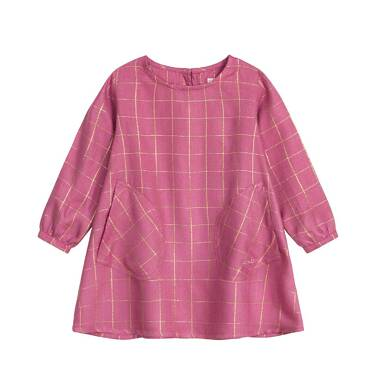 Endo - Sukienka z długim rękawem dla dziecka do 3 lat, w złotą kratkę, różowa N92H015_1