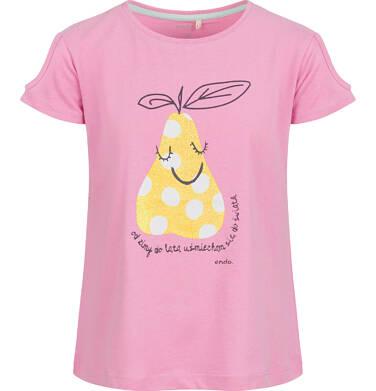 Endo - Bluzka z krótkim rękawem dla dziewczynki, z gruszką, różowa, 9-13 lat D03G634_1 163