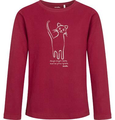 Endo - Bluzka z długim rękawem dla dziewczynki, z kotem, bordowa, 9-13 lat D04G156_2 10