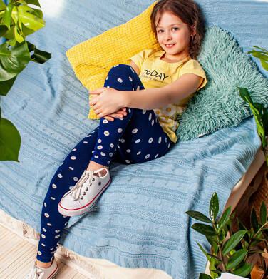 Endo - Legginsy dla dzieczynki, w deseń w kwiatki, granatowe, 9-13 lat D05K050_2 29