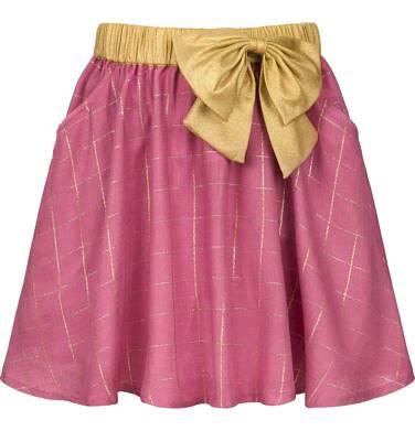 Spódnica dla dziewczynki, w złotą kratę, różowa, 3-8 lat D92J021_1