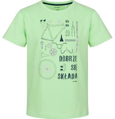Endo - T-shirt z krótkim rękawem dla chłopca, rowerowe części, zielony, 2-8 lat C03G084_2 148