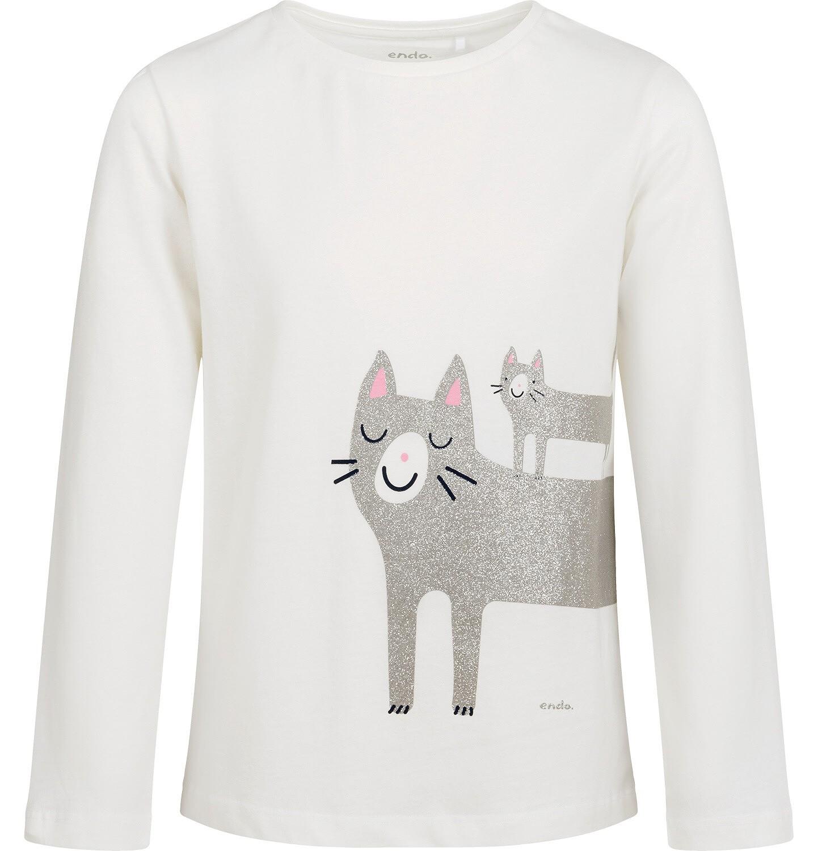 Endo - Bluzka z długim rękawem dla dziewczynki, z kotem, kremowa, 9-13 lat D04G159_1