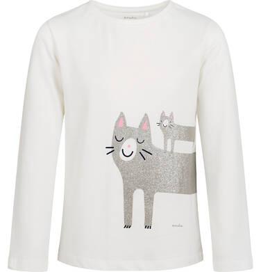 Endo - Bluzka z długim rękawem dla dziewczynki, z kotem, porcelanowa, 9-13 lat D04G159_1,1