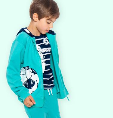 Rozpinana bluza z kapturem dla chłopca, z piłką, zielona 9-13 lat C05C007_1