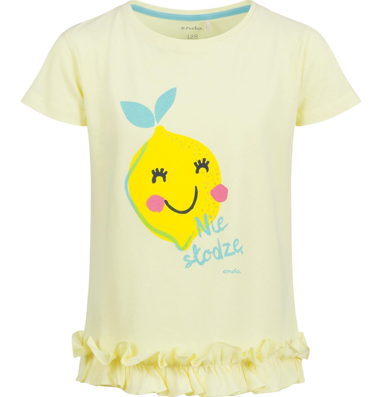 Endo - Bluzka z krótkim rękawem dla dziewczynki, z cytryną, żółta, 9-13 lat D03G635_1