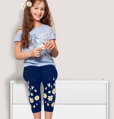 Endo - Legginsy 3/4 dla dziewczynki, z nadrukiem u dołu, granatowe, 2-8 lat D05K056_1 24
