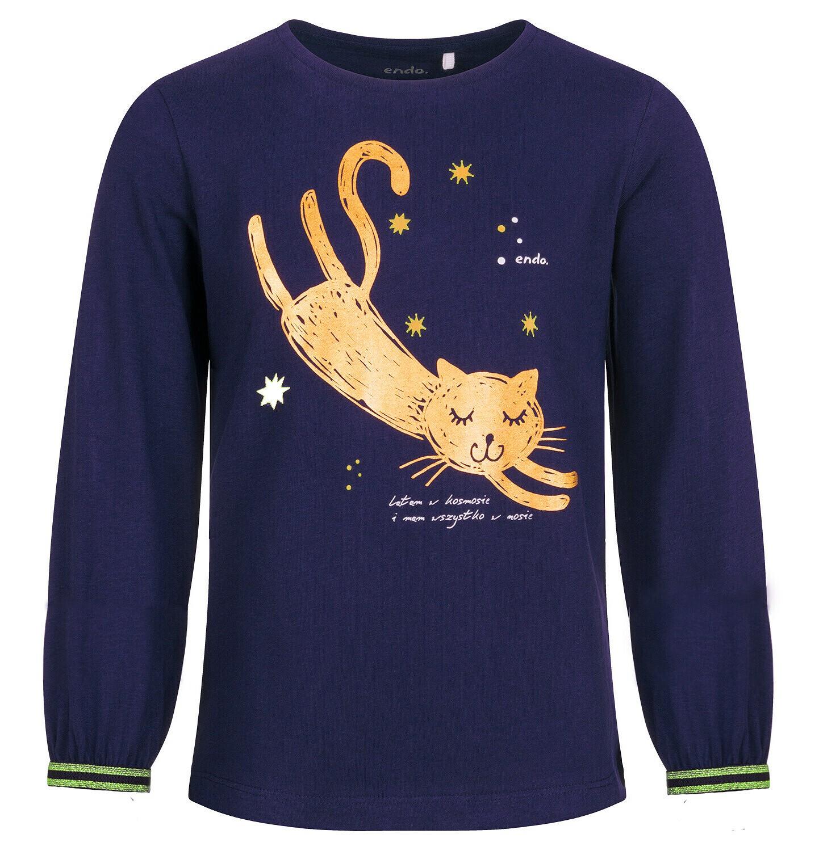Endo - Bluzka z długim rękawem dla dziewczynki, z kotem, granatowa, 9-13 lat D04G165_1