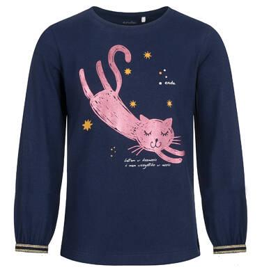 Endo - Bluzka z długim rękawem dla dziewczynki, z kotem, granatowa, 9-13 lat D04G165_1 4