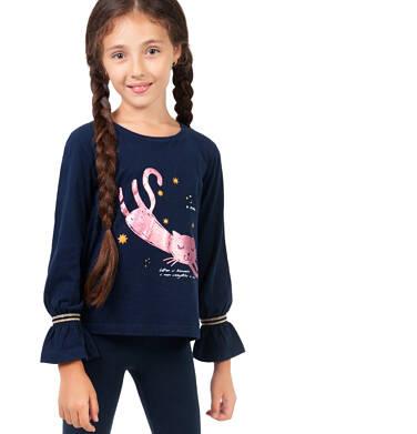 Endo - Bluzka z długim rękawem dla dziewczynki, z kotem, granatowa, 9-13 lat D04G165_1 11