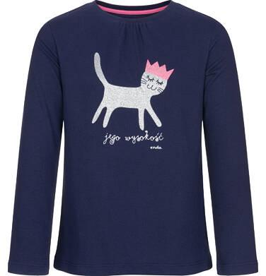 Endo - Bluzka z długim rękawem dla dziewczynki, jego wysokość kot, granatowa, 3-8 lat D92G019_3
