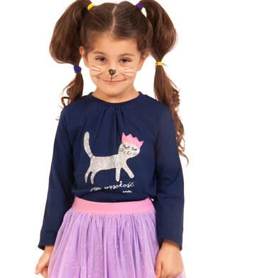 Endo - Bluzka z długim rękawem dla dziewczynki, jego wysokość kot, granatowa, 3-8 lat D92G019_3,2