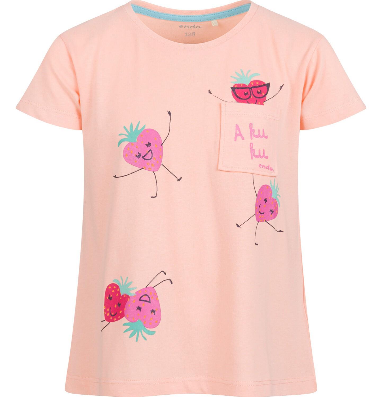 Endo - Bluzka z krótkim rękawem dla dziewczynki, w truskawki, pomarańczowa, 9-13 lat D03G636_1