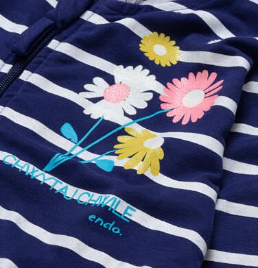 Endo - Rozpinana bluza z kapturem dla dziewczynki, w paski, ze stokrotkami, granatowa 2-8 lat D05C009_1 14