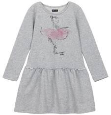 Endo - Sukienka z falbaną i srebrną nitką dla dziewczynki 9-12 lat D62H548_1