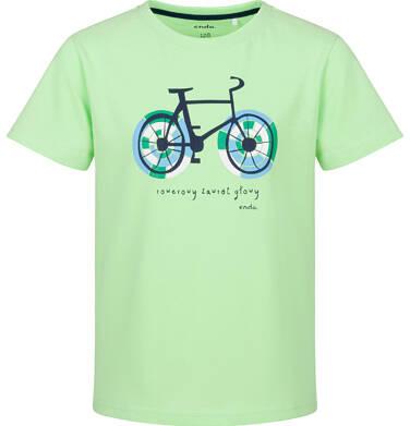 Endo - T-shirt z krótkim rękawem dla chłopca, rowerowe szaleństwo, limonkowy, 9-13 lat C03G585_2