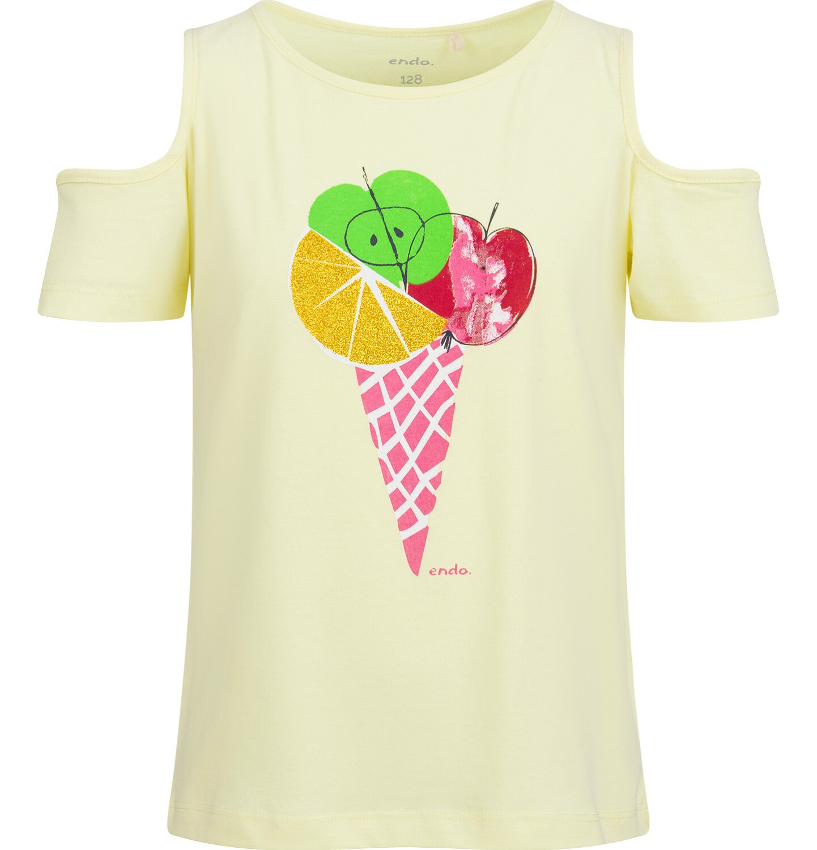 Endo - Bluzka z krótkim rękawem dla dziewczynki, z odkrytymi ramionami, żółta, 9-13 lat D03G637_1