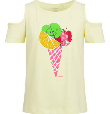 Endo - Bluzka z krótkim rękawem dla dziewczynki, z odkrytymi ramionami, żółta, 9-13 lat D03G637_1 160