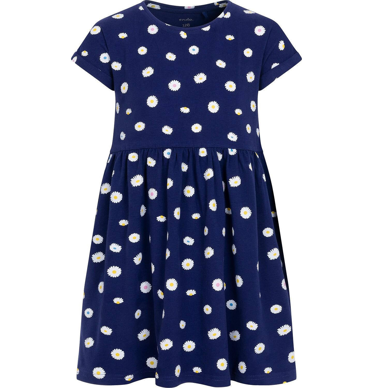 Endo - Dżersejowa sukienka z krótkim rękawem dla dziewczynki, w stokrotki, granatowa, 2-8 lat D05H034_1