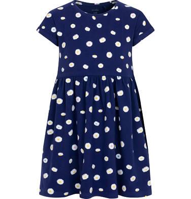 Endo - Dżersejowa sukienka z krótkim rękawem dla dziewczynki, w stokrotki, granatowa, 2-8 lat D05H034_1 2