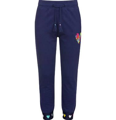 Endo - Spodnie dresowe dla dziewczynki, z kolorowym sercem, granatowe, 2-8 lat D03K006_1