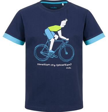 T-shirt z krótkim rękawem dla chłopca, z rowerzystą, granatowy, 9-13 lat C03G586_1