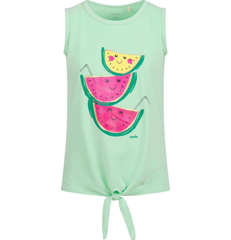 Endo - Bluzka na ramiączkach dla dziewczynki, z owocami, zielona, 2-8 lat D03G640_1