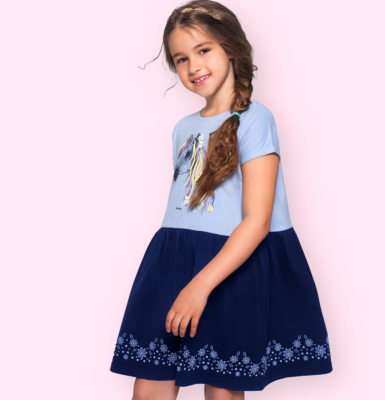 Endo - Dżersejowa sukienka z krótkim rękawem dla dziewczynki, z koniem, niebieska 2-8 lat D05H054_1