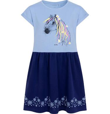 Dżersejowa sukienka z krótkim rękawem dla dziewczynki, z koniem, niebieska 2-8 lat D05H054_1