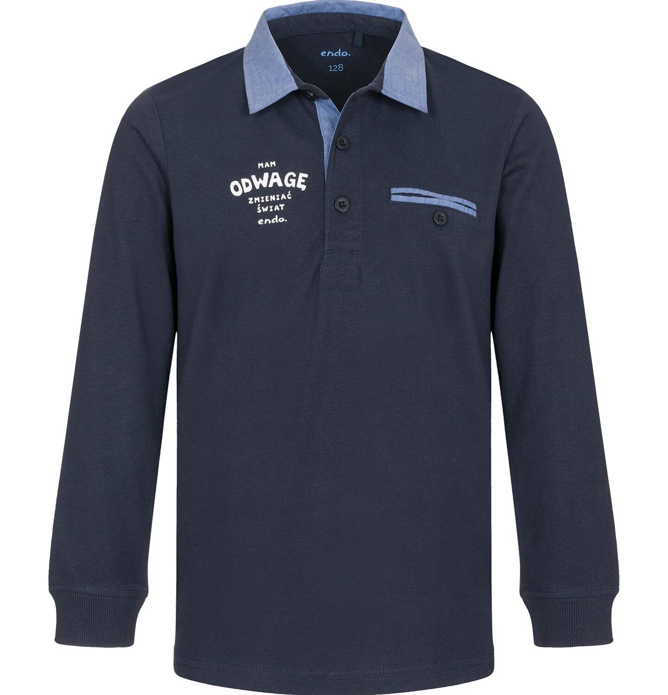 Endo - T-shirt polo z długim rękawem dla chłopca 9-13 C92G503_1