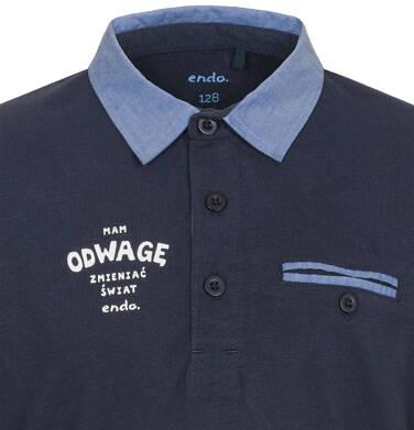 Endo - T-shirt polo z długim rękawem dla chłopca 9-13 C92G503_1,3