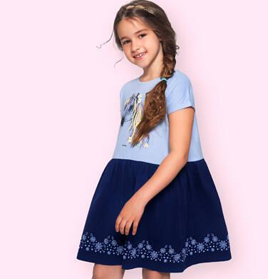 Dżersejowa sukienka z krótkim rękawem dla dziewczynki, z koniem, niebieska 9-13 lat D05H066_1