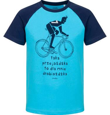 Endo - T-shirt z krótkim rękawem dla chłopca, z rowerzystą, niebieski, 9-13 lat C03G587_1