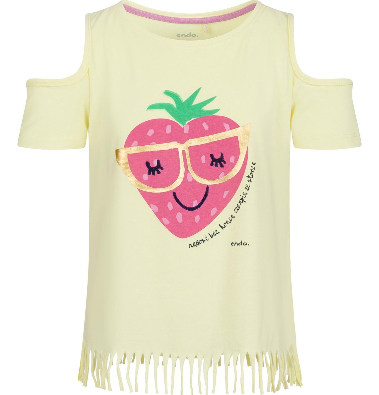 Endo - Bluzka z krótkim rękawem dla dziewczynki, z truskawką i odsłoniętymi ramionami, żółta, 9-13 lat D03G641_1