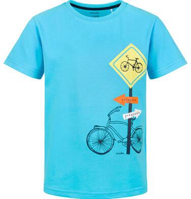 Endo - T-shirt z krótkim rękawem dla chłopca, rowerowa przygoda, niebieski, 9-13 lat C03G588_1