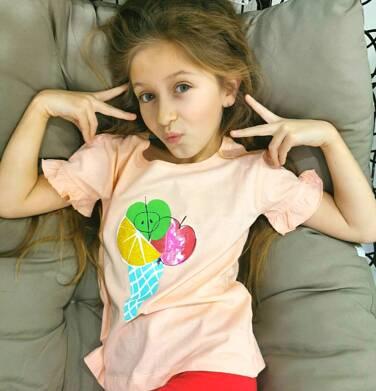 Endo - Bluzka z krótkim rękawem dla dziewczynki, z owocowym lodem, pomarańczowa, 9-13 lat D03G642_1 9