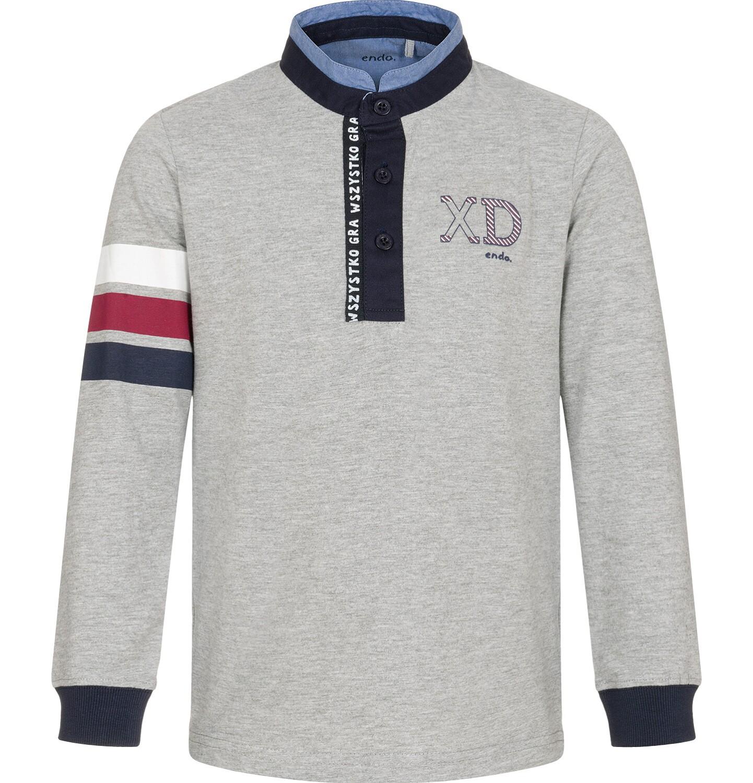 Endo - T-shirt polo z długim rękawem, szary, 9-13 lat C92G506_1