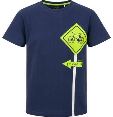 Endo - T-shirt z krótkim rękawem dla chłopca, z rowerowym znakiem, granatowy, 2-8 lat C03G089_1 17