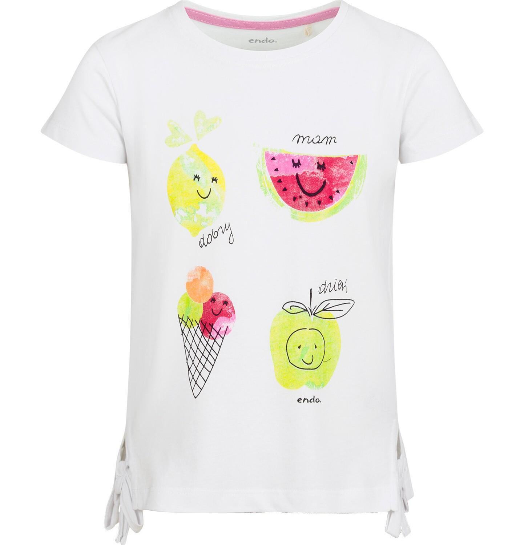 Endo - Bluzka z krótkim rękawem dla dziewczynki, owocowy motyw i kokardki po bokach, biała, 9-13 lat D03G643_1