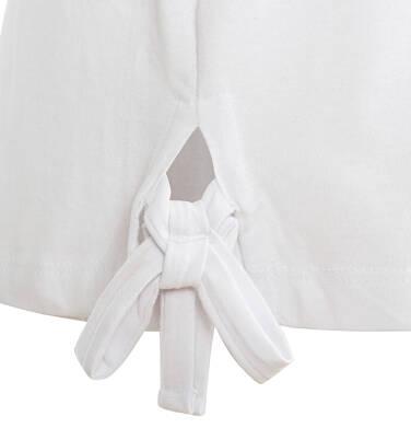 Endo - Bluzka z krótkim rękawem dla dziewczynki, owocowy motyw i kokardki po bokach, biała, 9-13 lat D03G643_1,2