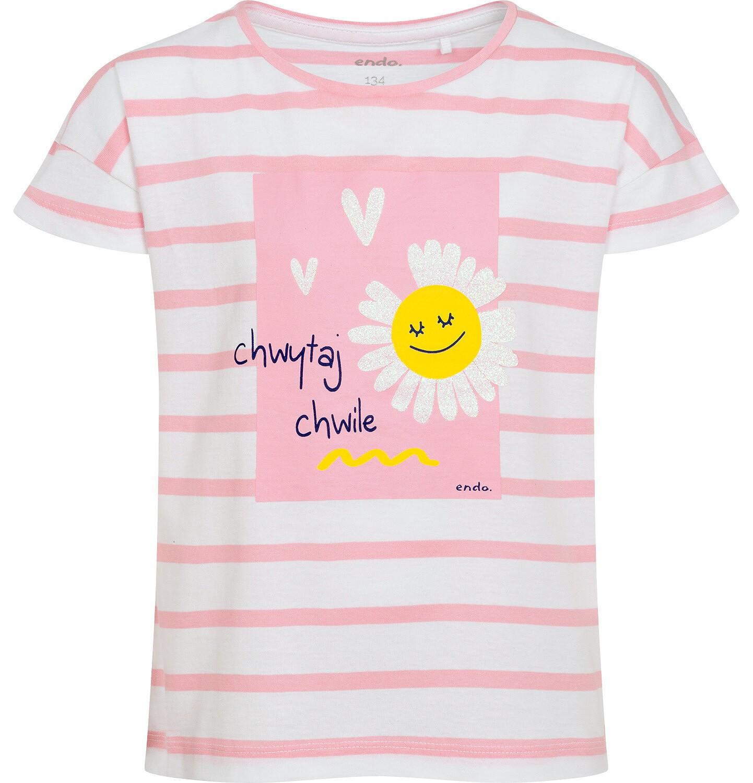 Endo - T-shirt z krótkim rękawem dla dziewczynki, motyw stokrotki, biały w różowe paski, 9-13 lat D05G015_1