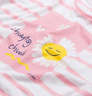Endo - T-shirt z krótkim rękawem dla dziewczynki, motyw stokrotki, biały w różowe paski, 9-13 lat D05G015_1,2