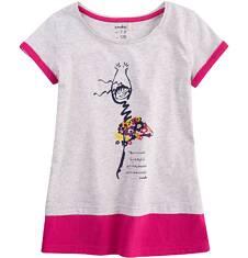 Tunika z krótkim rękawem dla dziewczynki 9-13 lat D71G603_1