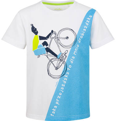 Endo - T-shirt z krótkim rękawem dla chłopca, rowerowa przejażdżka, biało - niebieski, 2-8 lat C03G090_1 24