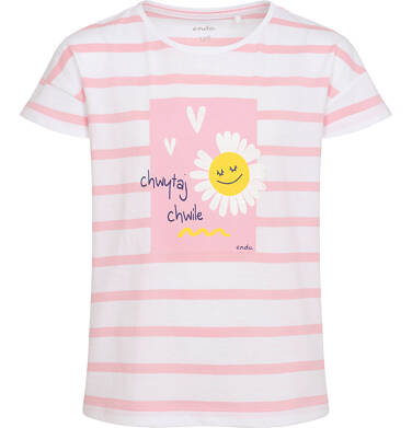 Endo - T-shirt z krótkim rękawem dla dziewczynki, motyw stokrotki, biały w różowe paski, 2-8 lat D05G061_1 1