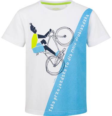 T-shirt z krótkim rękawem dla chłopca, rowerowa przejażdżka, biało - niebieski, 9-13 lat C03G590_1