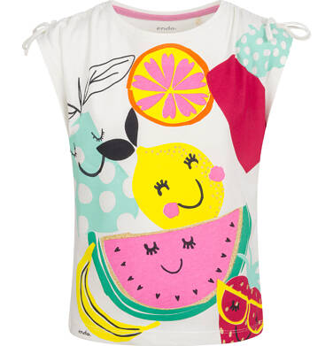 Endo - Bluzka z krótkim rękawem dla dziewczynki, owocowy motyw i kokardki na ramionach, porcelanowa, 9-13 lat D03G644_1 151