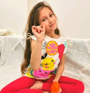 Endo - Bluzka z krótkim rękawem dla dziewczynki, owocowy motyw i kokardki na ramionach, porcelanowa, 9-13 lat D03G644_1 6