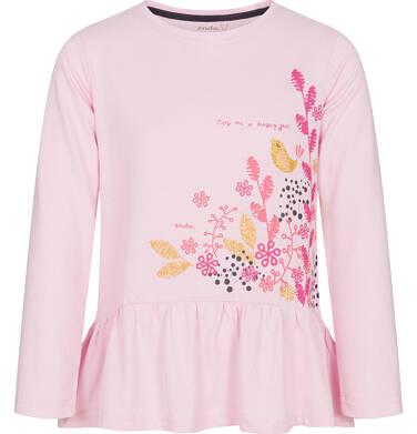 Bluzka z długim rękawem dla dziewczynki, z ozdobną falbanką, różowa, 3-8 lat D92G110_1